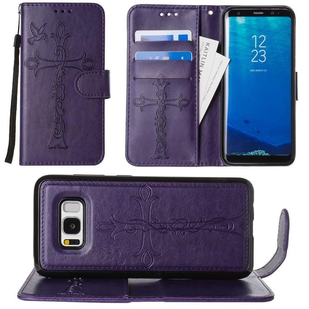 - Embossed Cross and Dove Wallet with Detachable Matching Slim Case and Wristlet, Purple for Samsung Galaxy S8