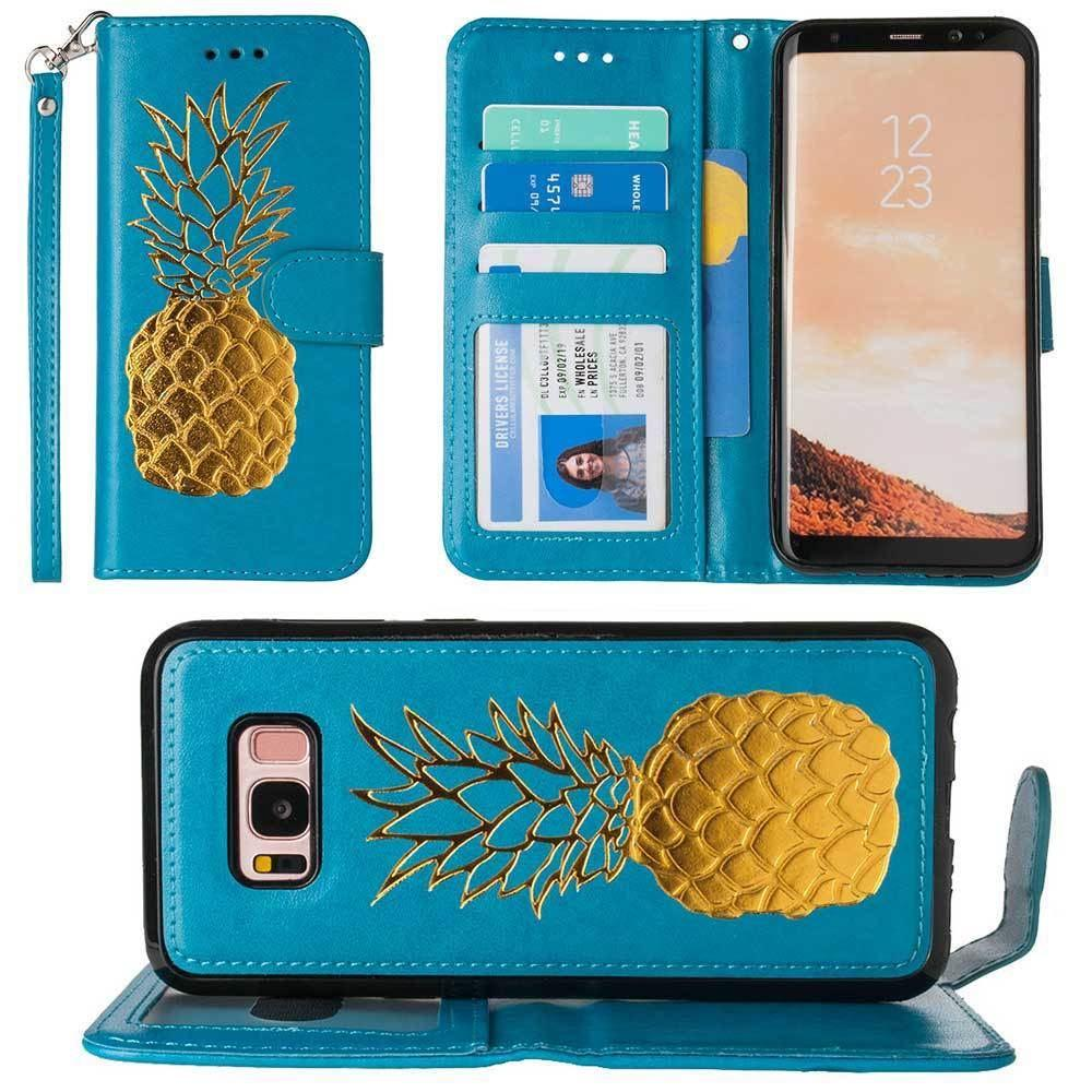 - Embossed Golden Pineapple Wallet with Detachable Matching Slim Case and Wristlet, Teal/Gold for Samsung Galaxy S8