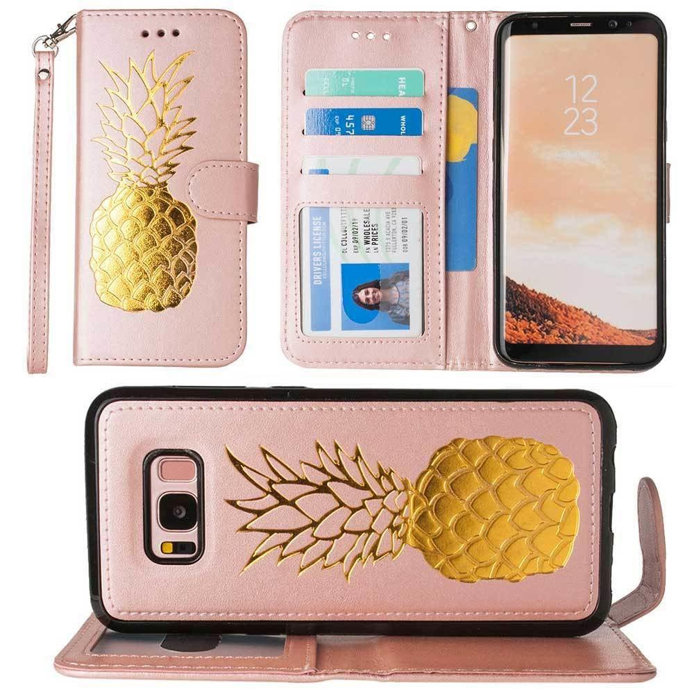 - Embossed Golden Pineapple Wallet with Detachable Matching Slim Case and Wristlet, Rose Gold/Gold for Samsung Galaxy S8