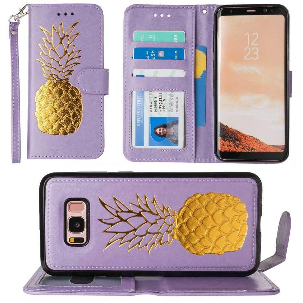 - Embossed Golden Pineapple Wallet with Detachable Matching Slim Case and Wristlet, Lavender/Gold for Samsung Galaxy S8