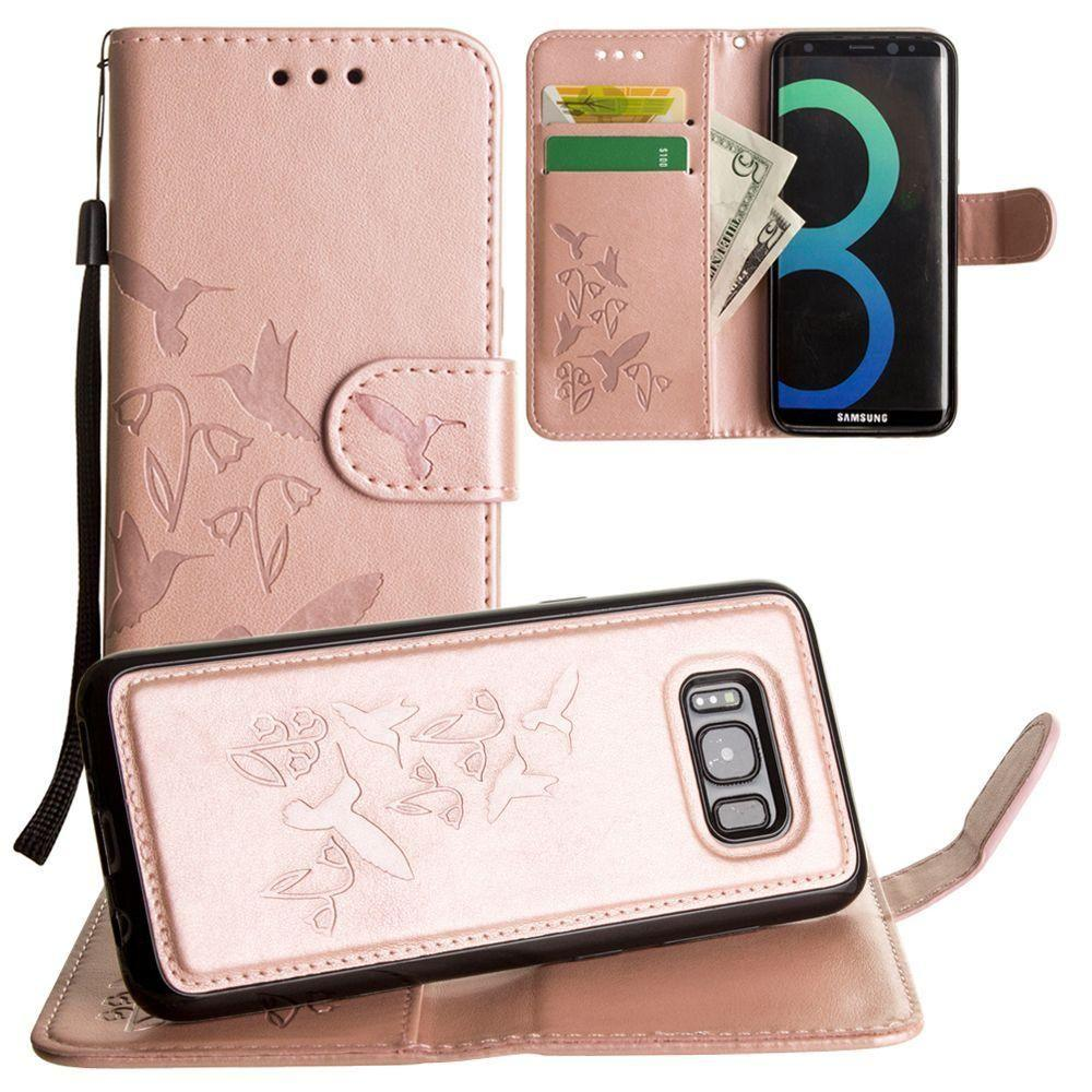 - Embossed Humming Bird Design Wallet Case with Matching Removable Case and Wristlet, Rose Gold for Samsung Galaxy S8