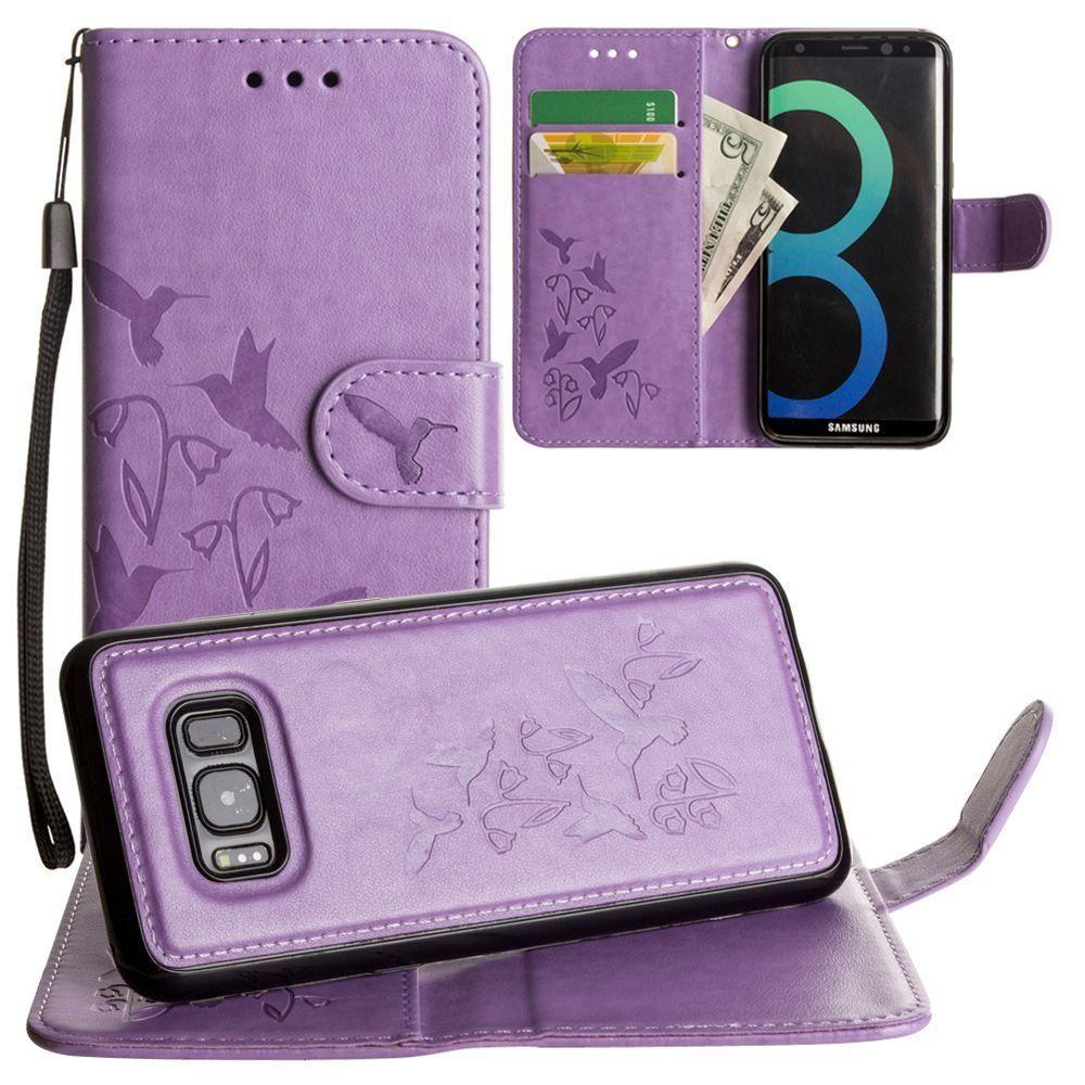 - Embossed Humming Bird Design Wallet Case with Matching Removable Case and Wristlet, Lavender for Samsung Galaxy S8