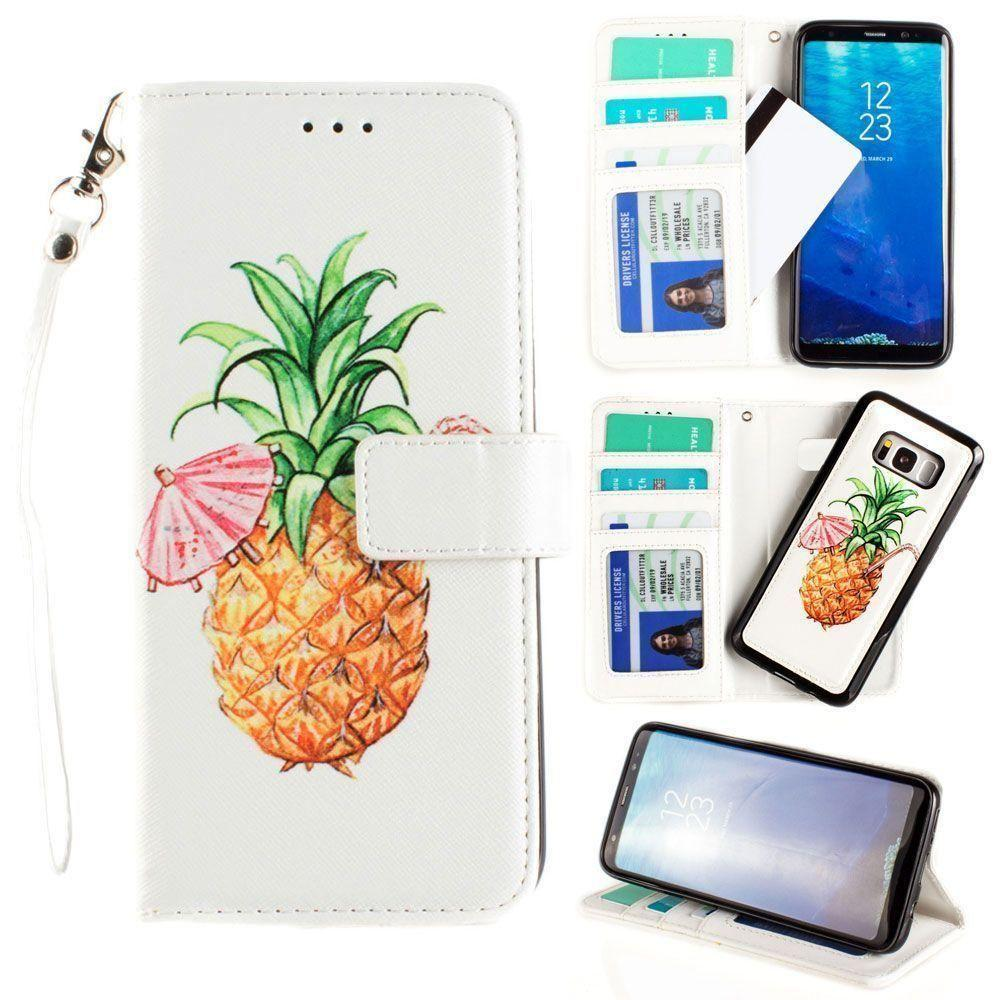 - Printed Pineapple Wallet with Matching Detachable Slim Case and Wristlet, White/Yellow for Samsung Galaxy S8