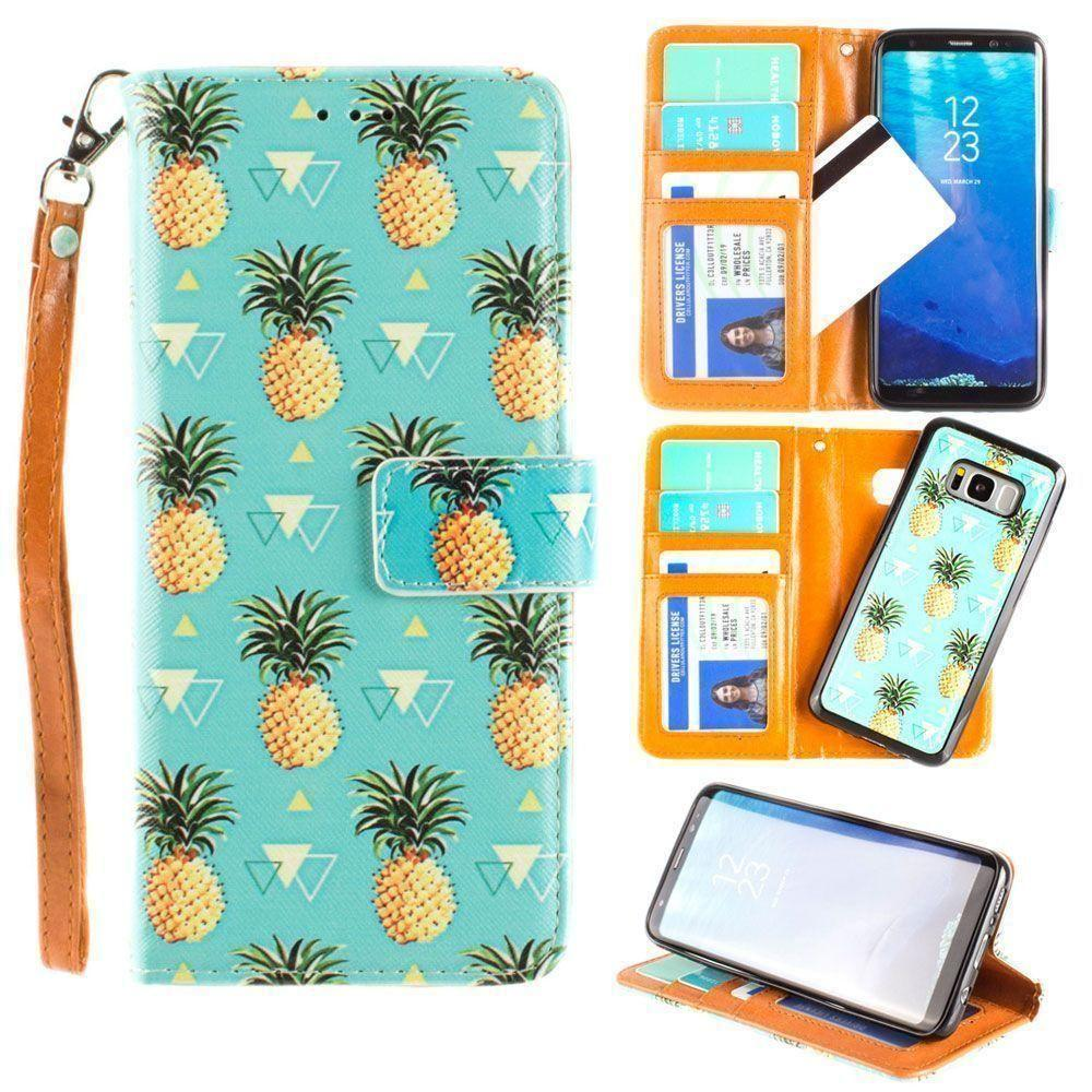 - Pineapples Wallet with Matching Detachable Slim Case and Wristlet, Yellow/Blue for Samsung Galaxy S8