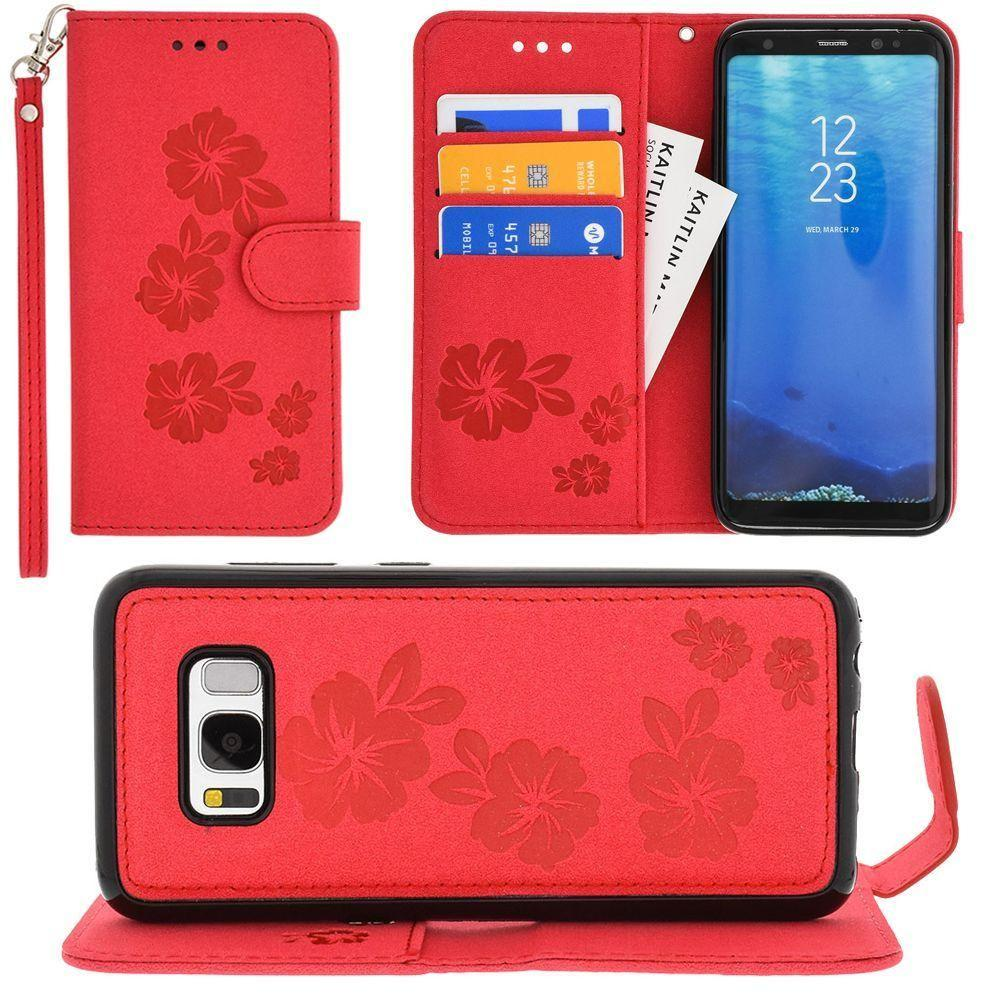 - Embossed Glitter Hawaiian Flower Wallet with Detachable Matching Slim Case and Wristlet, Rose Red for Samsung Galaxy S8