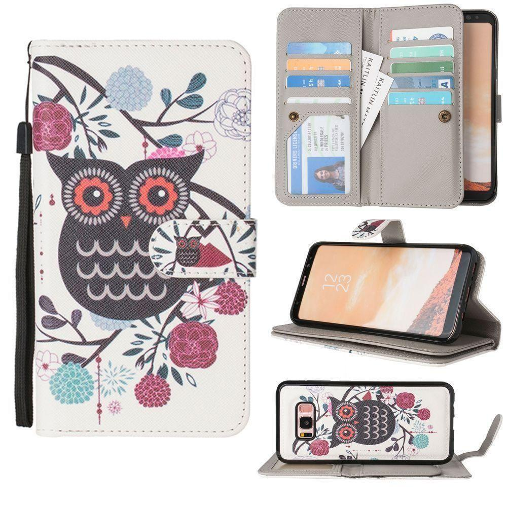 - Printed Owl Multi-Card Wallet with Matching Detachable Slim Case and Wristlet, Black/White for Samsung Galaxy S8