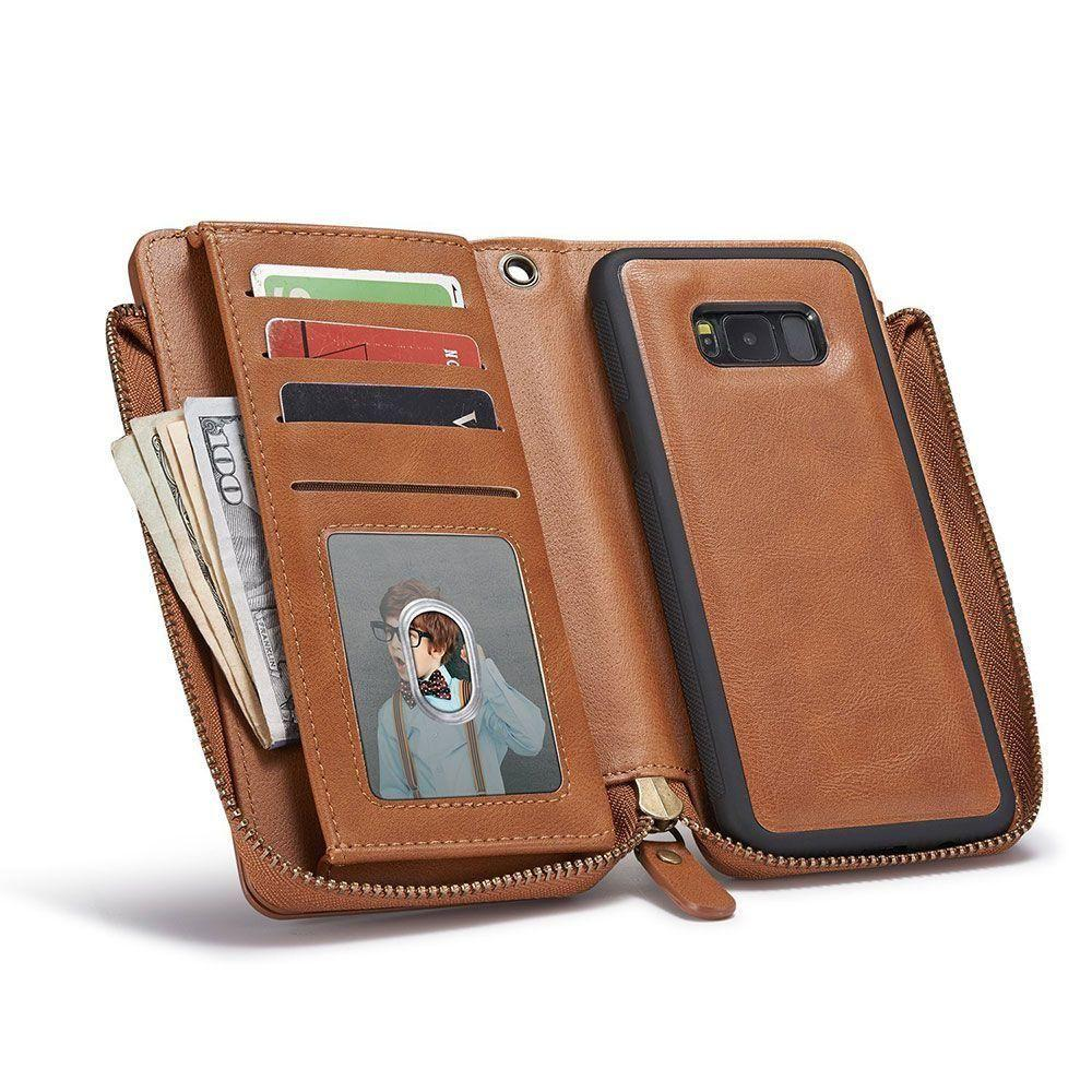 - Limited Edition Leather Clutch with Detachable Phone Case and Wristlet, Brown for Samsung Galaxy S8