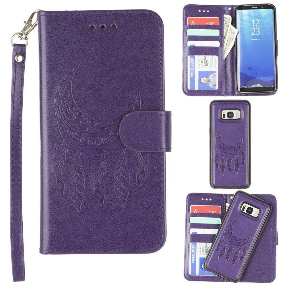 - Embossed Moon Dream Catcher Design Wallet Case with Detachable Matching Case and Wristlet, Purple for Samsung Galaxy S8