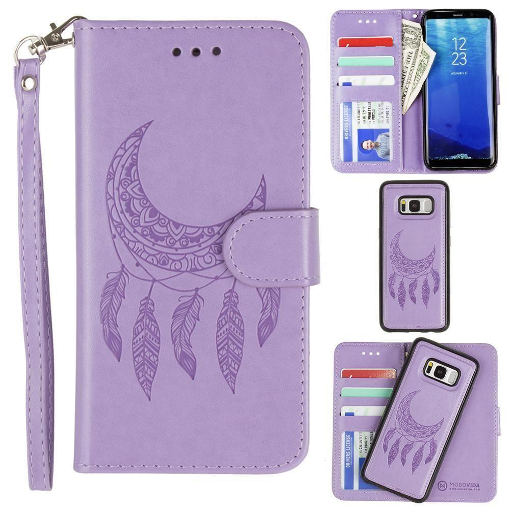 - Embossed Moon Dream Catcher Design Wallet Case with Detachable Matching Case and Wristlet, Lavender for Samsung Galaxy S8