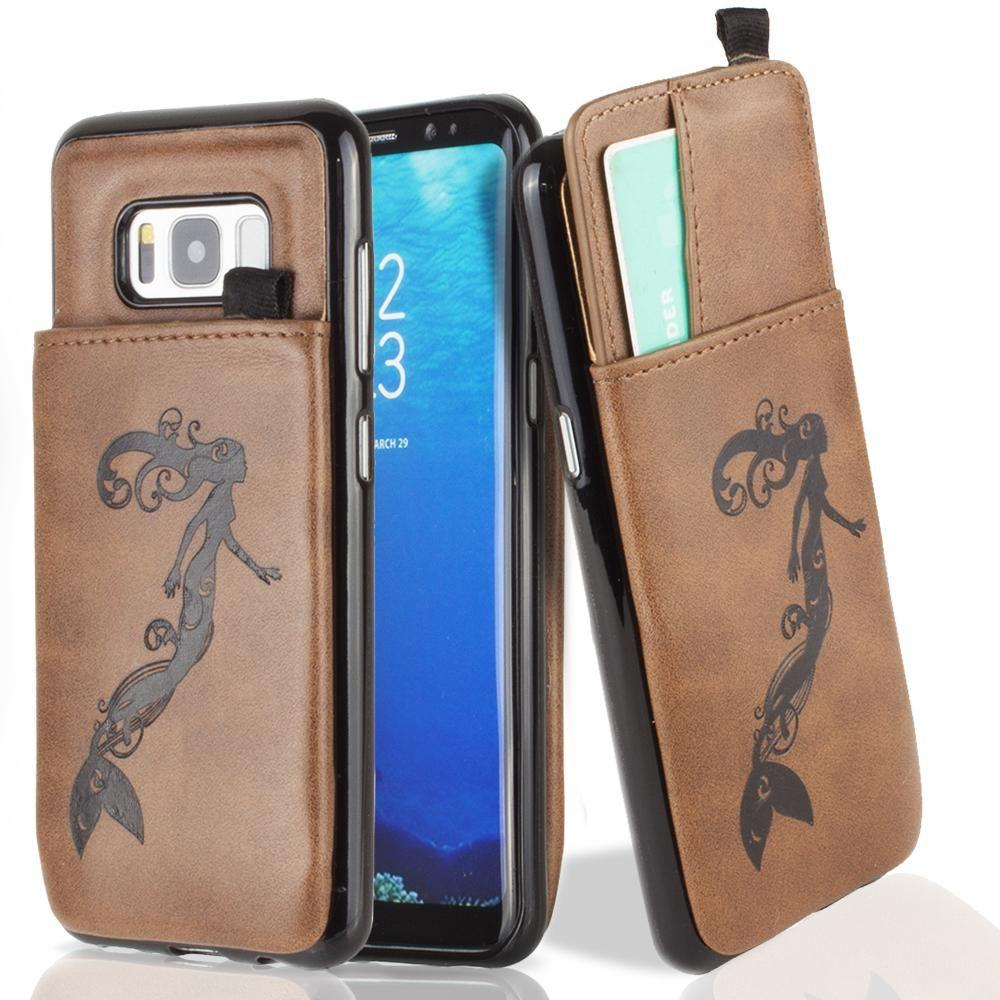 - Embossed Mermaid Leather Case with Pull-Out Card Slot Organizer, Brown for Samsung Galaxy S8