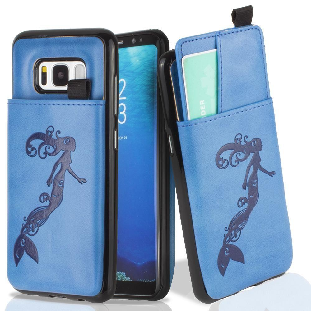 - Embossed Mermaid Leather Case with Pull-Out Card Slot Organizer, Blue for Samsung Galaxy S8