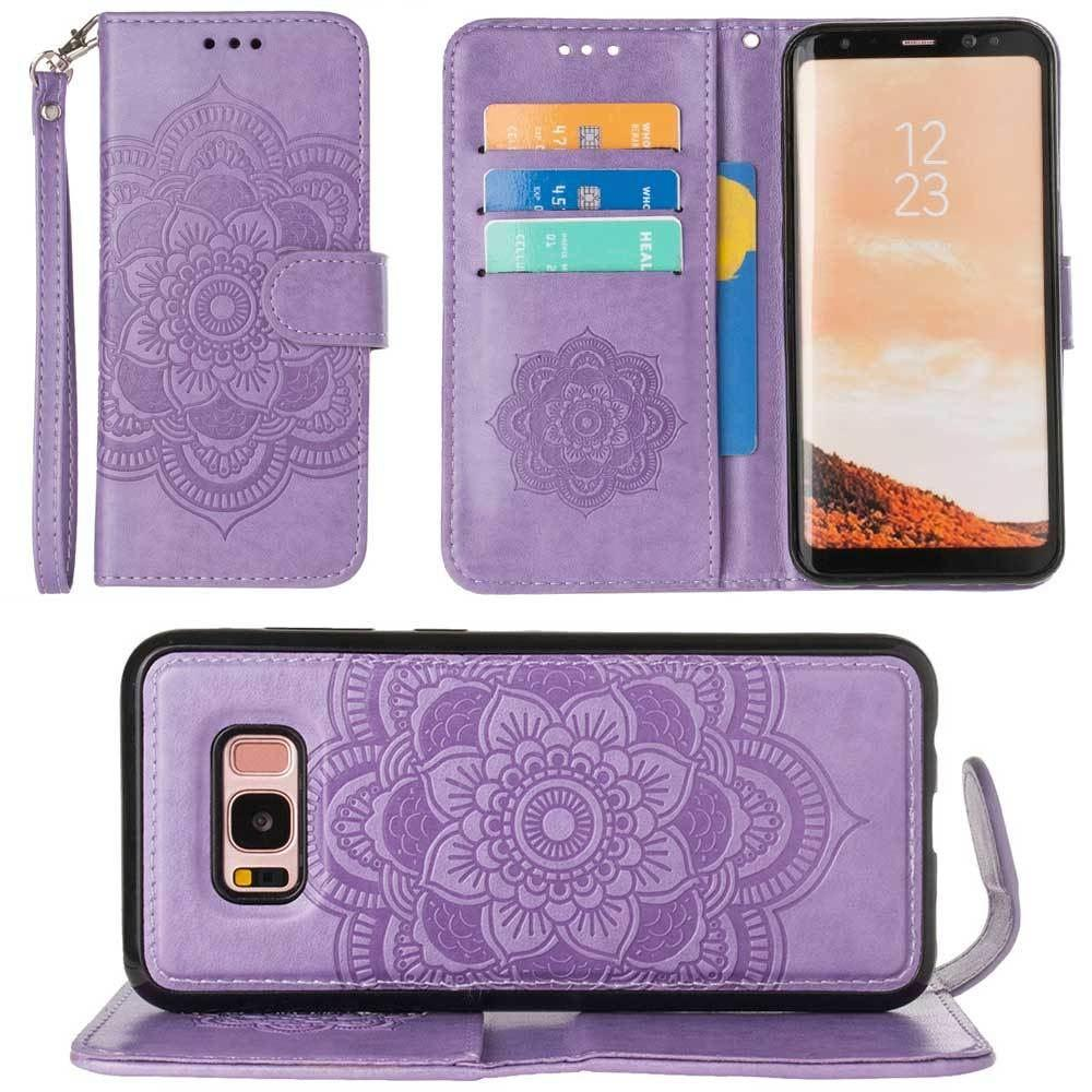 - Embossed Mandala Wallet Case with Detachable Matching Case and Wristlet, Lavender for Samsung Galaxy S8