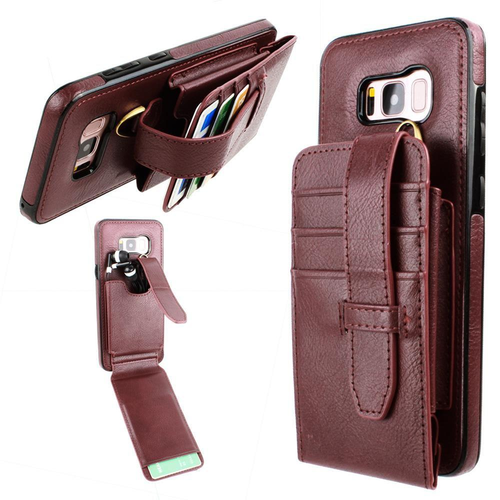 - Faux Leather Wallet Case with Card Pockets and Strap, Maroon for Samsung Galaxy S8
