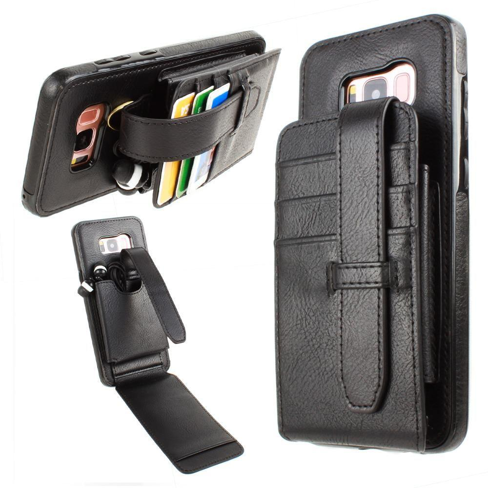 - Faux Leather Wallet Case with Card Pockets and Strap, Black for Samsung Galaxy S8