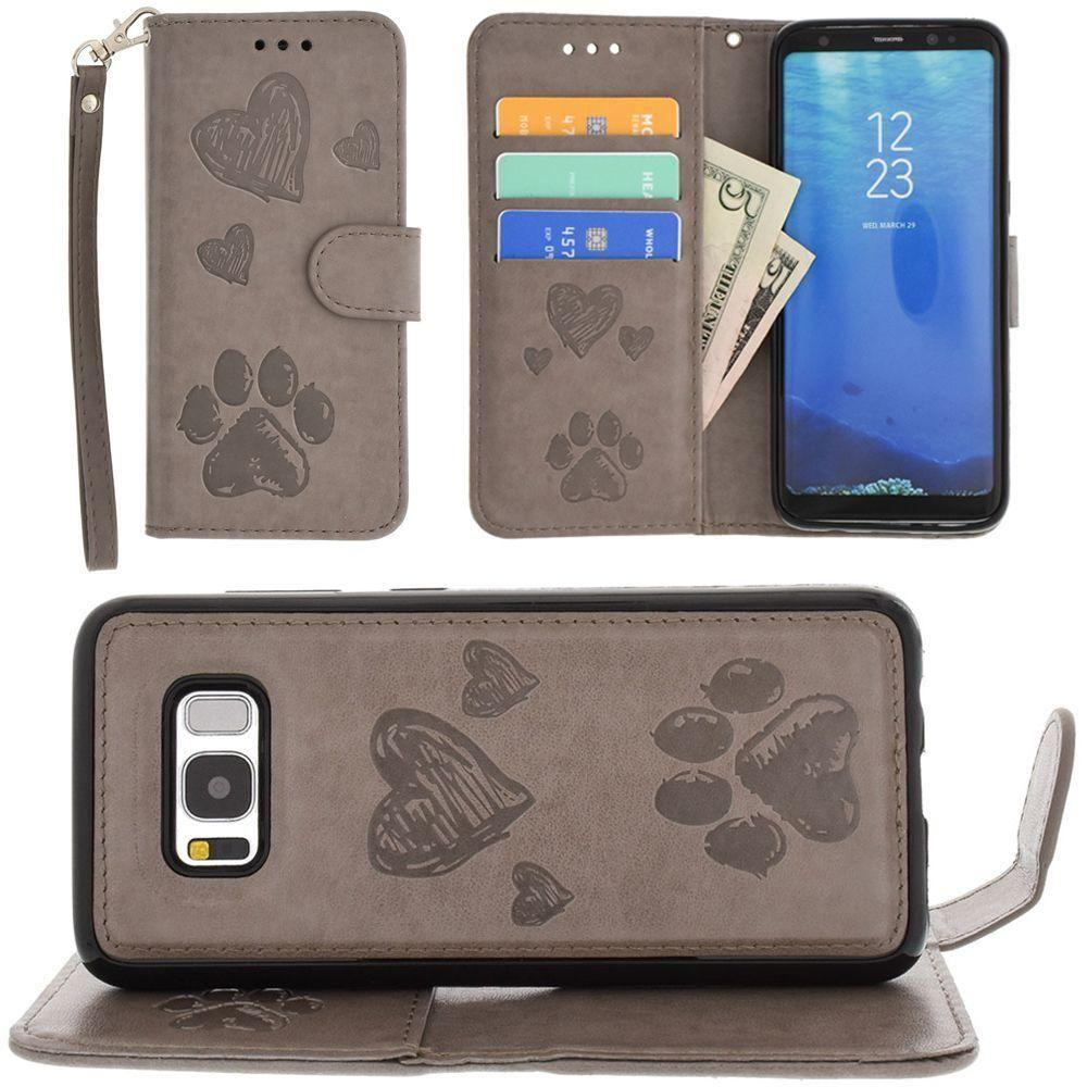 - Puppy Love Wallet with Matching Detachable Magnetic Phone Case and Wristlet, Gray for Samsung Galaxy S8