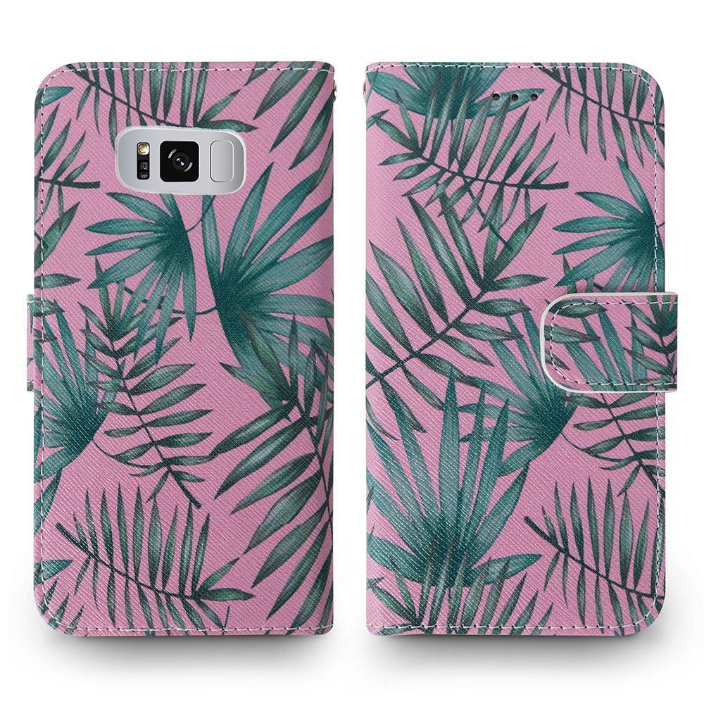 - Palm Leaves Printed Wallet with Matching Detachable Slim Case and Wristlet, Pink/Green for Samsung Galaxy S8