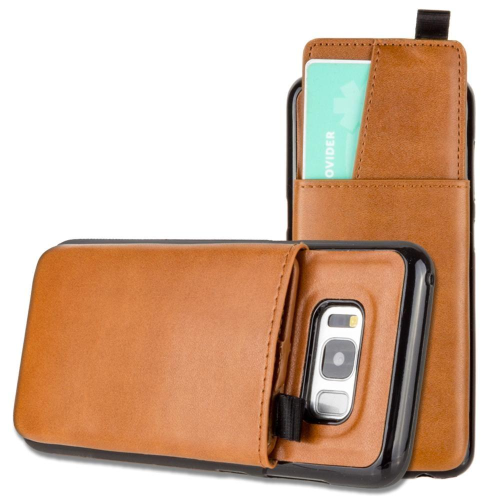 - Vegan Leather Case with Pull-Out Card Slot Organizer, Taupe for Samsung Galaxy S8