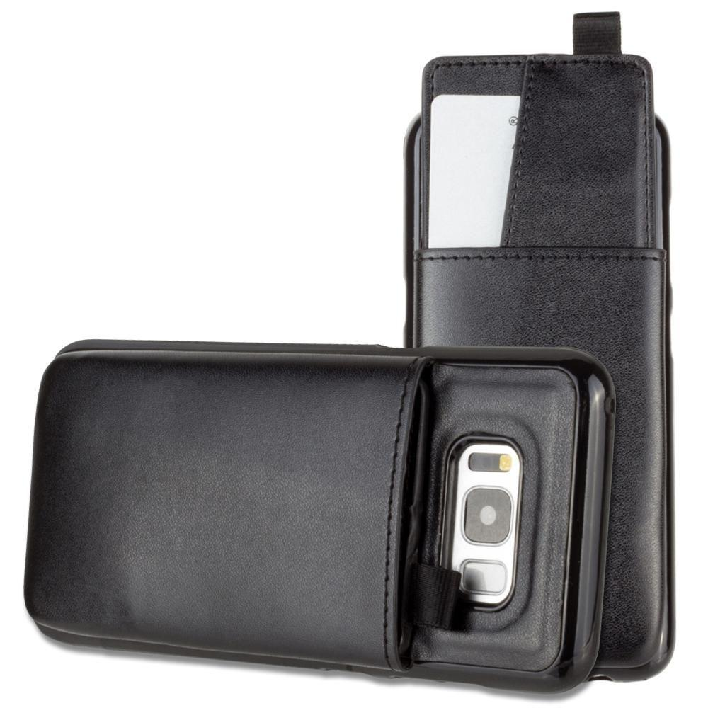 - Vegan Leather Case with Pull-Out Card Slot Organizer, Black for Samsung Galaxy S8