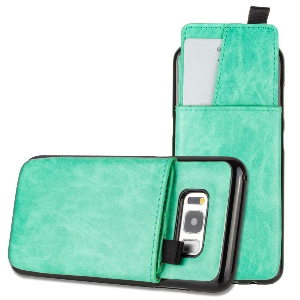 - Vegan Leather Case with Pull-Out Card Slot Organizer, Mint for Samsung Galaxy S8