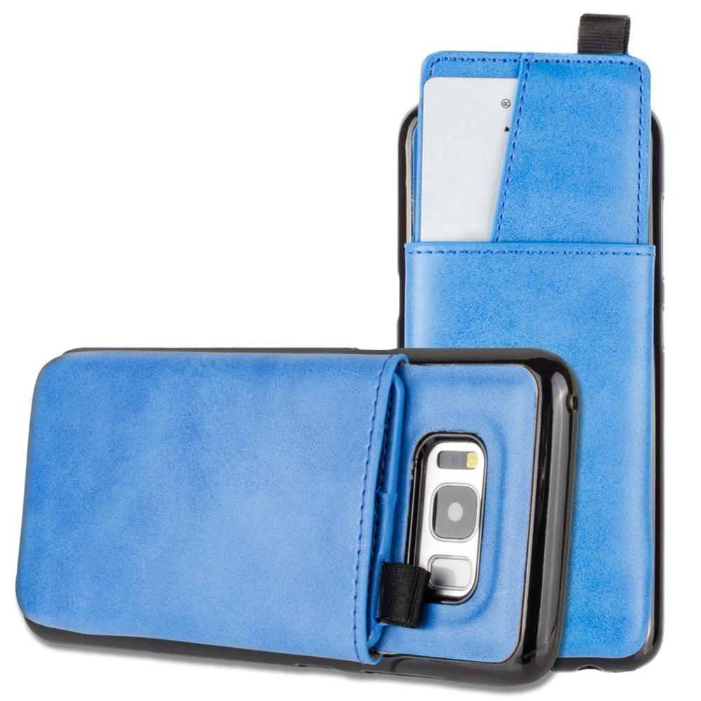 - Vegan Leather Case with Pull-Out Card Slot Organizer, Blue for Samsung Galaxy S8