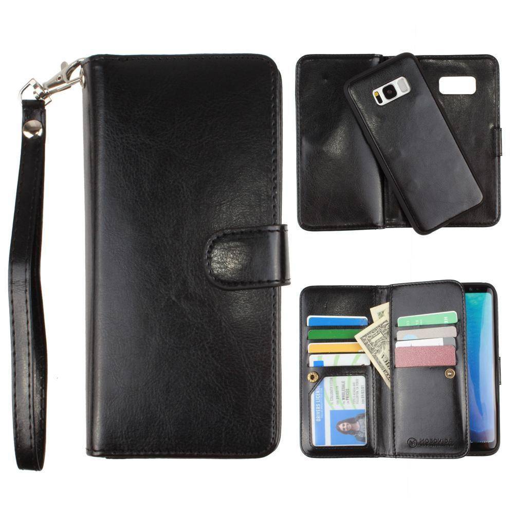 - Multi-Card Slot Wallet Case with Matching Detachable Case and Wristlet, Black for Samsung Galaxy S8