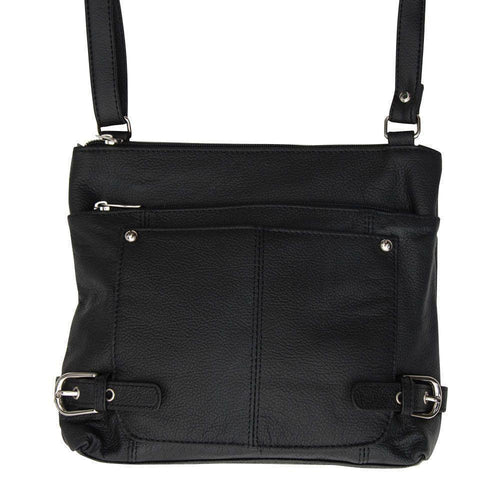 Zte Score - Genuine Leather Hand-Crafted Crossbody Bag with Multiple Compartments & Printed Interior, Black