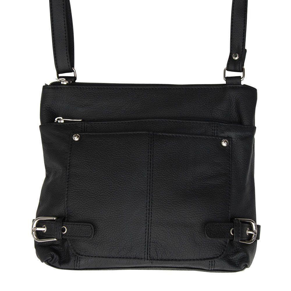 - Genuine Leather Hand-Crafted Crossbody Bag with Multiple Compartments & Printed Interior, Black