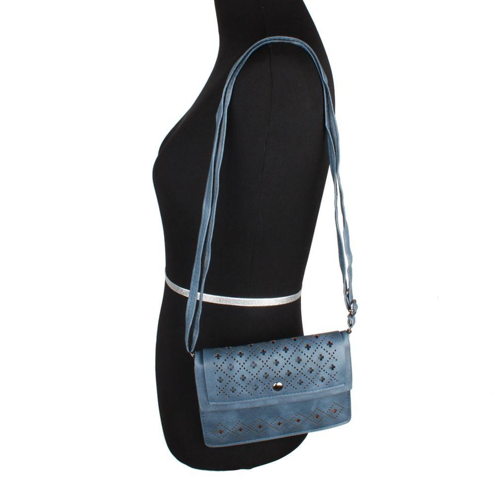 - Vegan Suede Diamond Laser Cut Horizontal Crossbody with Adjustable Strap, Navy Blue