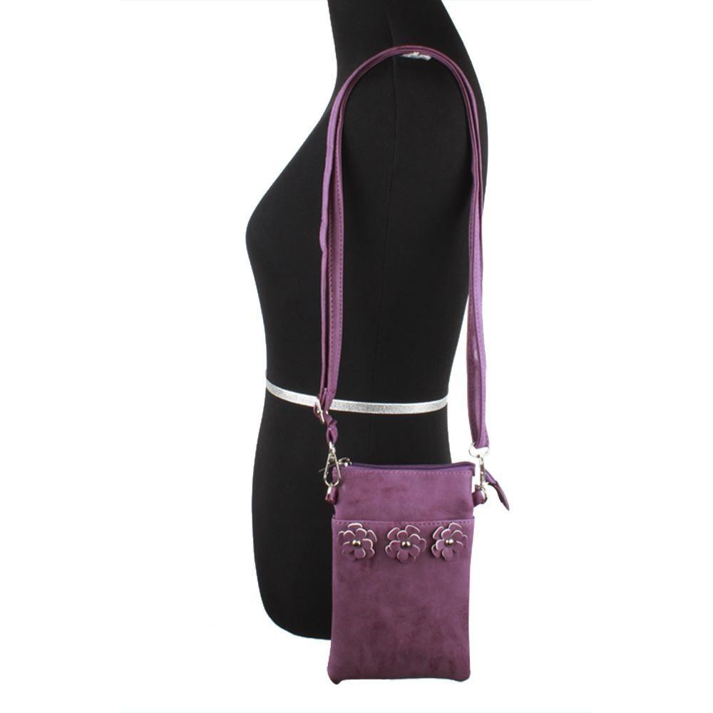 - Vegan Suede Flower Applique Crossbody with Adjustable and Detachable Strap, Purple