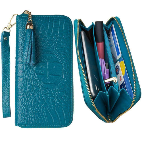 Other Brands Coolpad Rogue - Genuine Leather Hand-Crafted Alligator Clutch Wallet with Tassel, Turquoise