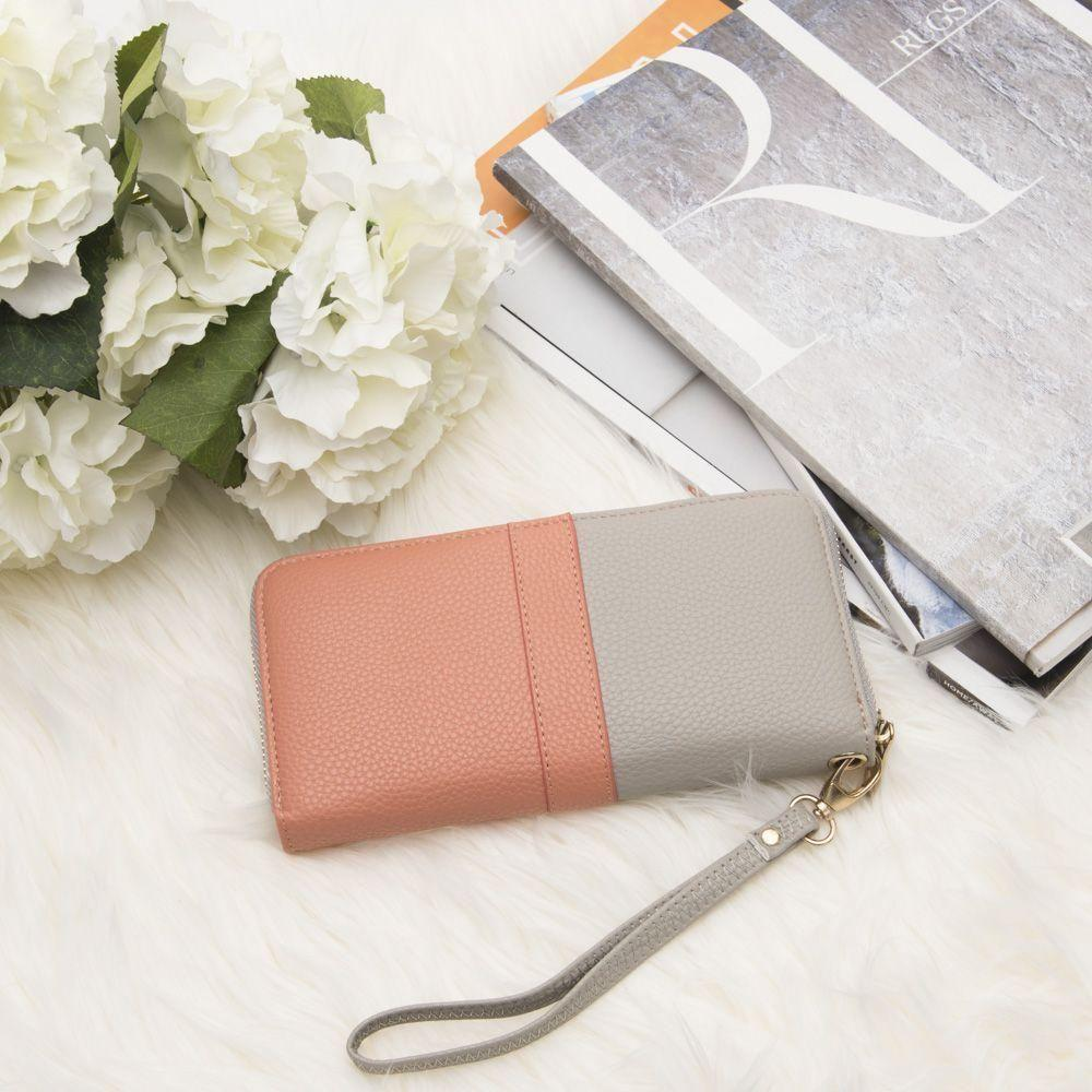 - Two Toned Designer style Clutch wallet, Gray/Coral
