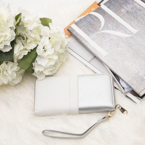Samsung Galaxy J5 - Two Toned Designer style Clutch wallet, Silver/White