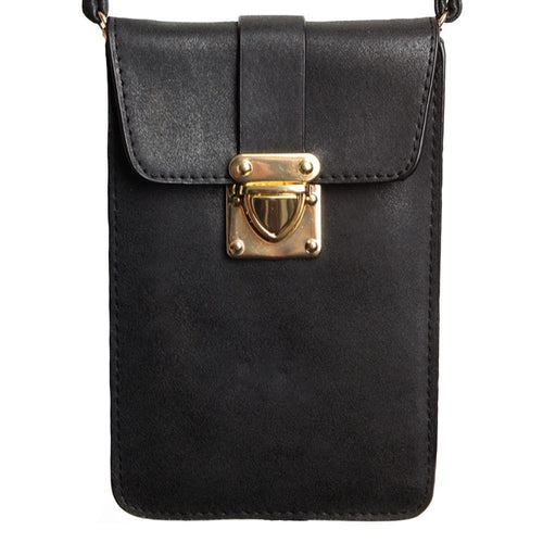 Zte Score - Soft Leather Crossbody Shoulder Bag, Black
