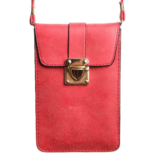 Samsung Galaxy S5 - Soft Leather Crossbody Shoulder Bag, Rose Red
