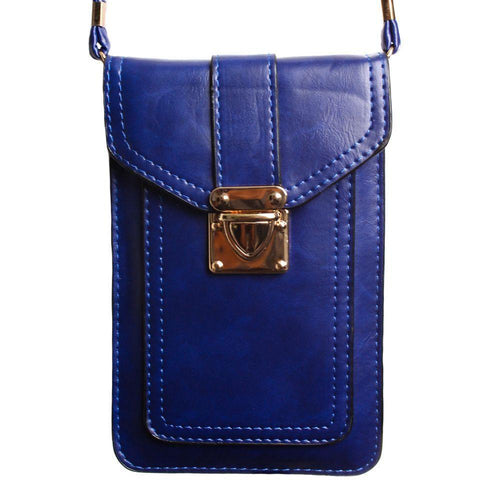 Samsung Galaxy Mega 6 3 - Smooth Vegan Leather Crossbody Shoulder Bag, Dark Blue
