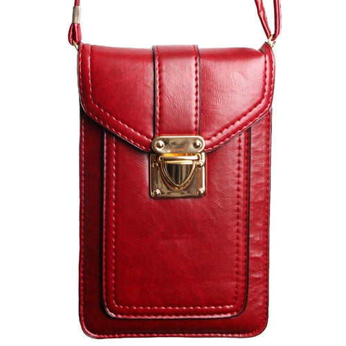 Motorola Droid Bionic - Smooth Vegan Leather Crossbody Shoulder Bag, Red