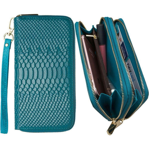 Alcatel Idealxcite - Genuine Leather Hand-Crafted Snake-Skin Double Zipper Clutch Wallet, Turquoise