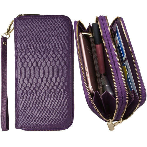 Microsoft Lumia 650 - Genuine Leather Hand-Crafted Snake-Skin Double Zipper Clutch Wallet, Purple