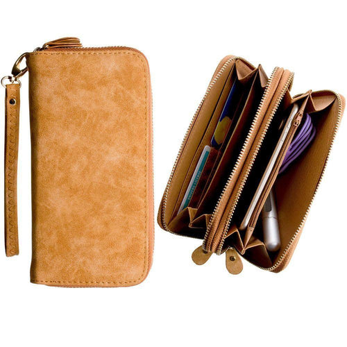 Lg Cookie Style T310 - Soft-touch Suede Double Zipper Clutch, Brown