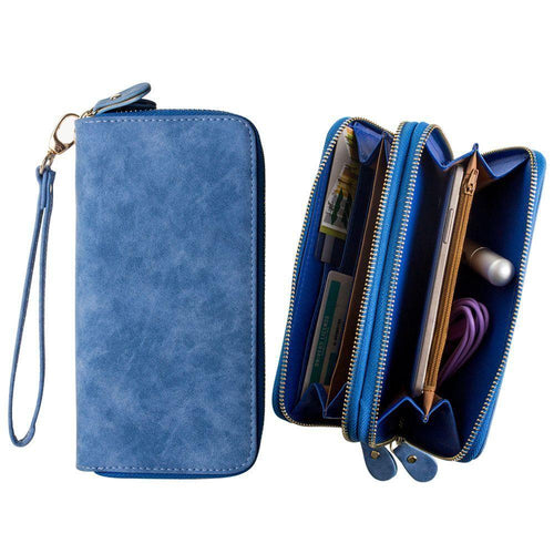 Pantech Pg 3810 - Soft-touch Suede Double Zipper Clutch, Blue