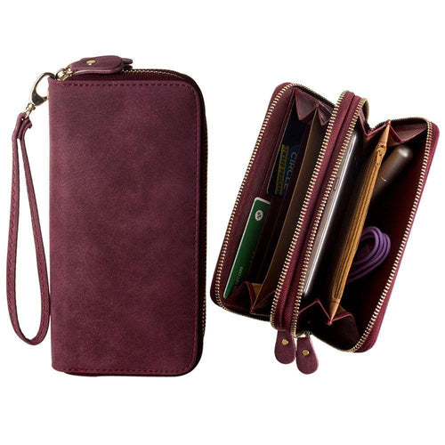 Samsung Galaxy Note 4 - Soft-touch Suede Double Zipper Clutch, Wine Red