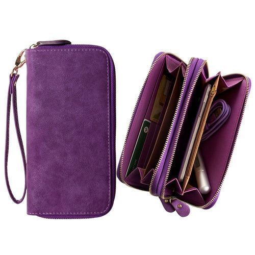 Pantech Pocket - Soft-touch Suede Double Zipper Clutch, Purple