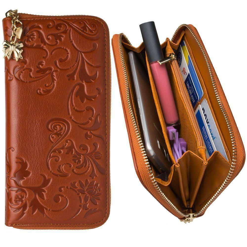 - Genuine Leather Hand-Crafted Floral Clutch Wallet, Camel