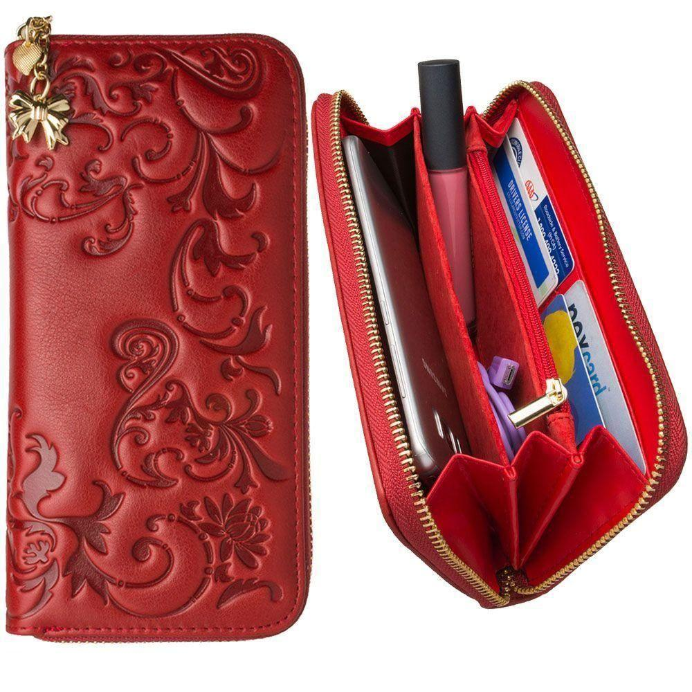 Radiant - Genuine Leather Hand-Crafted Floral Clutch Wallet, Red