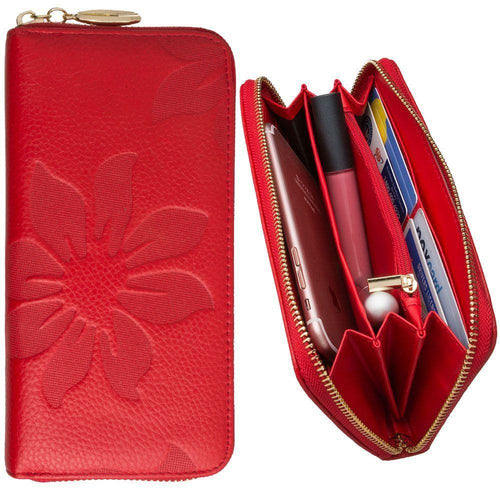 Htc Droid Incredible 4g Lte - Genuine Leather Embossed Flower Design Clutch, Red