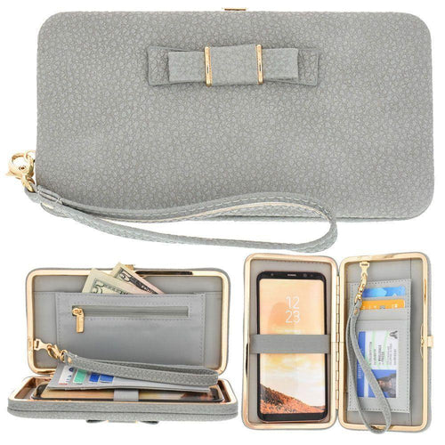 Alcatel Onetouch Fierce Xl - Bow clutch wallet with hideaway wristlet, Gray