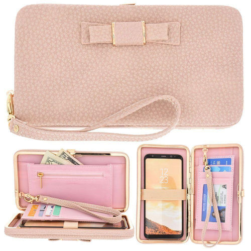 Samsung Galaxy On8 - Bow clutch wallet with hideaway wristlet, Light Pink