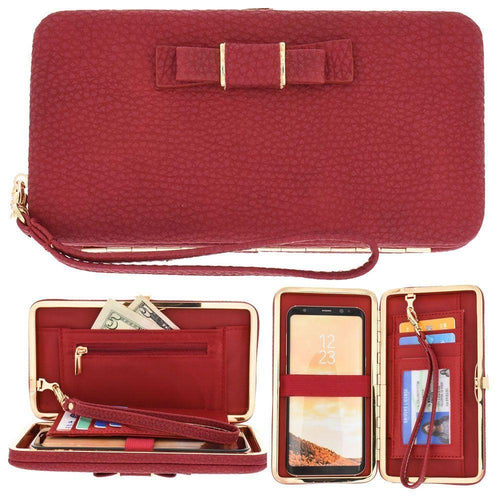 Htc One Mini - Bow clutch wallet with hideaway wristlet, Red