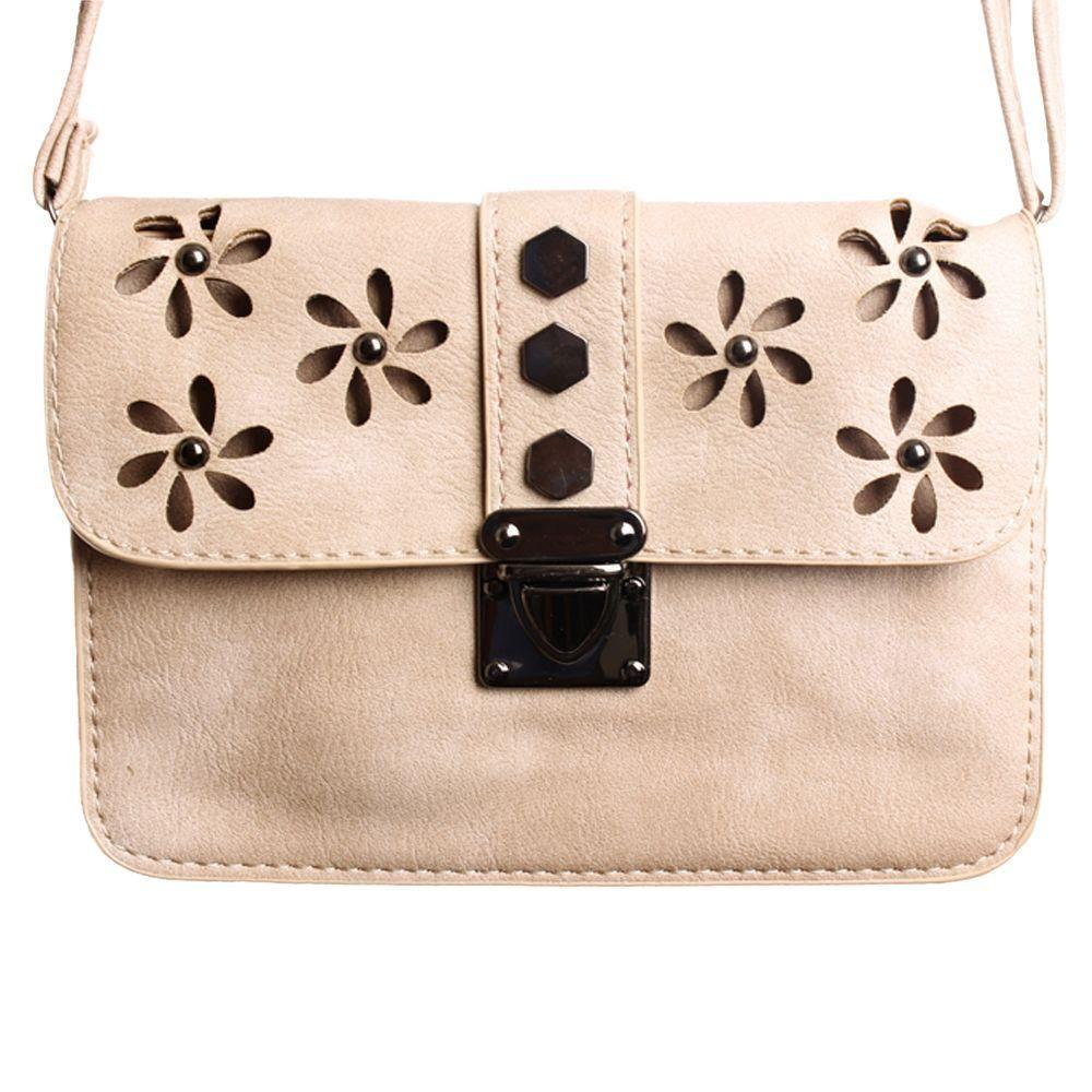 Brands Alcatel One Touch Fierce - Laser Cut Studded Flower Design Crossbody Clutch, Taupe