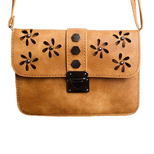 Motorola Droid Bionic - Laser Cut Studded Flower Design Crossbody Clutch, Brown